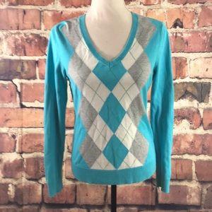 Women's Izod Argyle V Neck Sweater Teal & Gray S